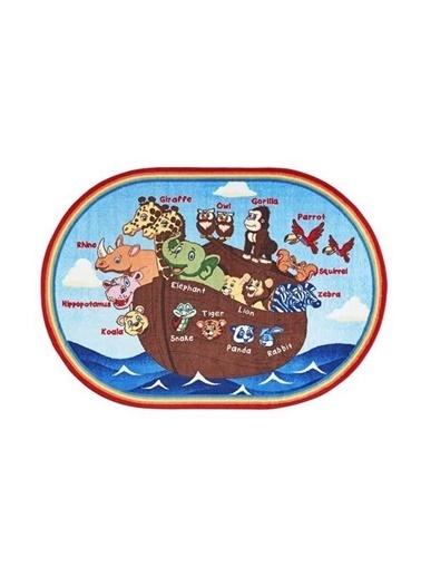 Confetti Animals Ship Anti Slip Çocuk Odası Anaokulu Oyun Halısı Renkli